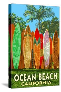 Ocean Beach, California - Surfboard Fence by Lantern Press