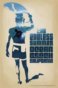 Ocean Beach, California - The Endless Summer - Surfer Cutout Scene by Lantern Press