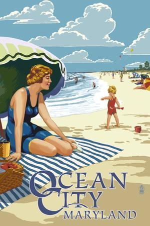 Ocean City, Maryland - Beach Scene by Lantern Press