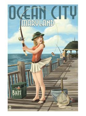Ocean City, Maryland - Fishing Pinup Girl by Lantern Press