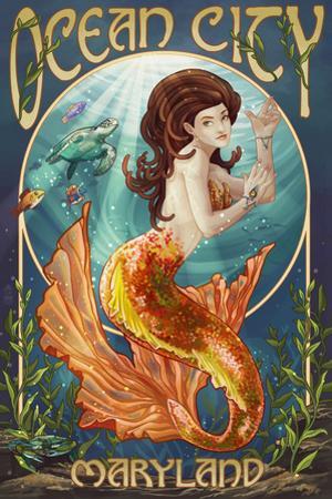 Ocean City, Maryland - Mermaid by Lantern Press