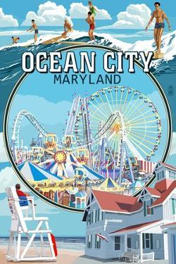 Ocean City, Maryland - Montage Scenes by Lantern Press
