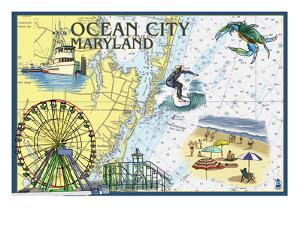 Ocean City, Maryland - Nautical Chart by Lantern Press