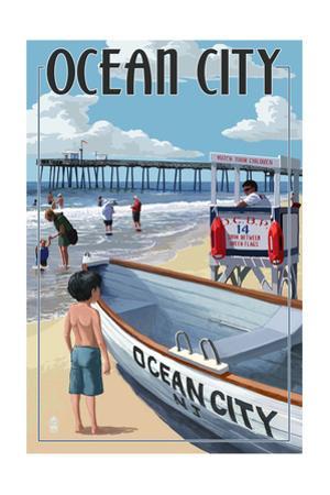 Ocean City, New Jersey - Lifeguard Stand by Lantern Press