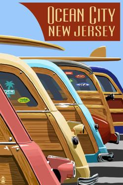 Ocean City, New Jersey - Woodies Lined Up by Lantern Press