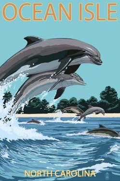Ocean Isle - Calabash, North Carolina - Dolphins Jumping by Lantern Press