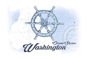 Ocean Shores, Washington - Ship Wheel - Blue - Coastal Icon by Lantern Press