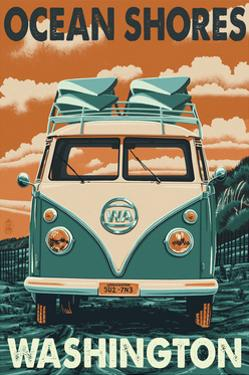 Ocean Shores, Washington - VW Van by Lantern Press