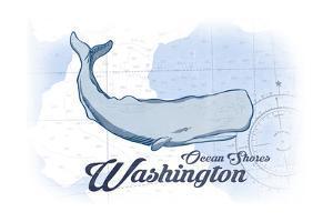 Ocean Shores, Washington - Whale - Blue - Coastal Icon by Lantern Press