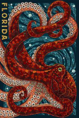 Octopus Paper Mosaic - Florida by Lantern Press