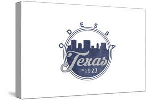 Odessa, Texas - Skyline Seal (Blue) by Lantern Press