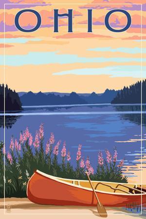 Ohio - Canoe and Lake by Lantern Press