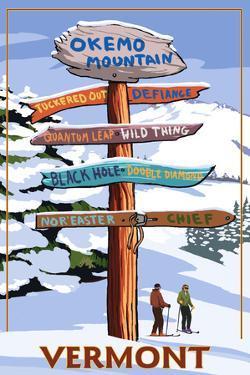 Okemo Mountain Resort, Vermont - Ski Sign Destinations by Lantern Press