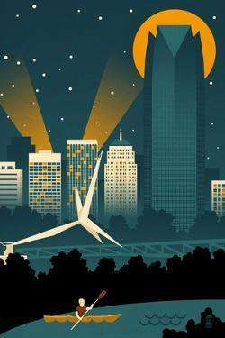 Oklahoma City, Oklahoma - Retro Skyline (no text) by Lantern Press