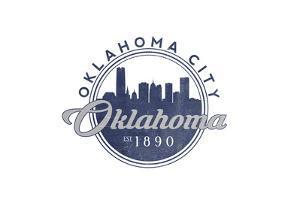Oklahoma City, Oklahoma - Skyline Seal (Blue) by Lantern Press