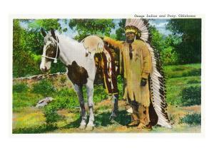 Oklahoma - Osage Indian and Pony by Lantern Press