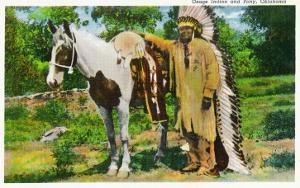 Oklahoma - Osage Indian and Pony by Lantern Press
