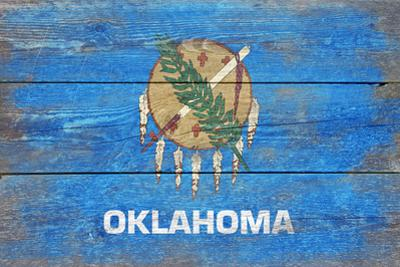 Oklahoma State Flag - Barnwood Painting by Lantern Press