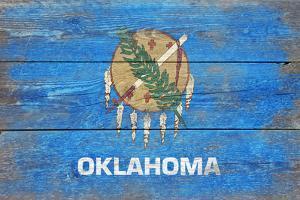 Oklahoma State Flag - Barnwood Painting by Lantern Press