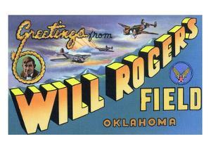 Oklahoma - Will Rogers Field, Large Letter Scenes by Lantern Press