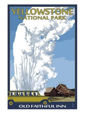Old Faithful Lodge and Bus - Yellowstone National Park by Lantern Press