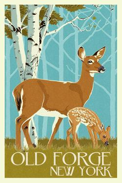 Old Forge, New York - Deer and Fawn - Letterpress by Lantern Press