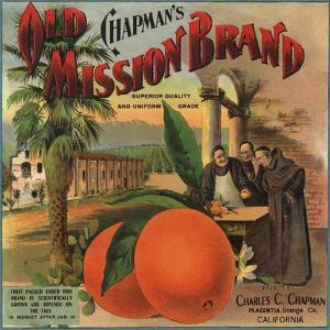 Old Mission Brand - Placentia, California - Citrus Crate Label by Lantern Press