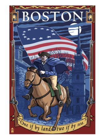 Old North Church and Paul Revere - Boston, MA by Lantern Press