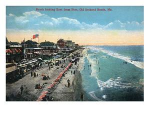 Old Orchard Beach, Maine - Eastern View from the Pier by Lantern Press