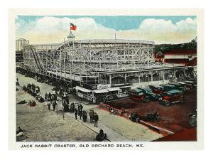 Old Orchard Beach, Maine - Jack Rabbit Rollercoaster by Lantern Press