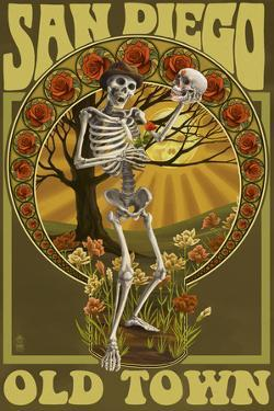 Old Town - San Diego, California - Day of the Dead Sugar Skull by Lantern Press