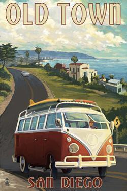 Old Town - San Diego, California - VW Van Cruise by Lantern Press