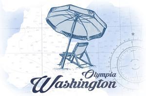 Olympia, Washington - Beach Chair and Umbrella - Blue - Coastal Icon by Lantern Press