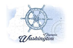 Olympia, Washington - Ship Wheel - Blue - Coastal Icon by Lantern Press