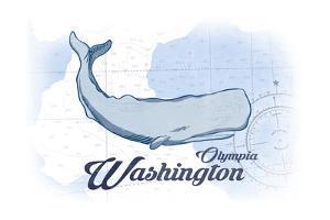 Olympia, Washington - Whale - Blue - Coastal Icon by Lantern Press