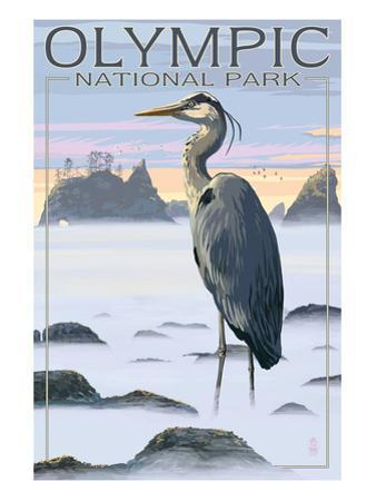 Olympic National Park - Heron and Fog Shorline by Lantern Press