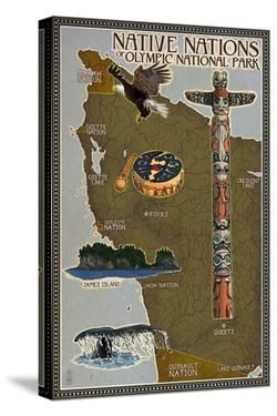 Olympic National Park - Map of Native Tribes by Lantern Press