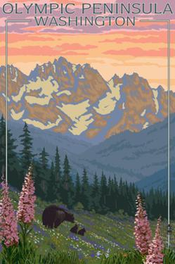 Olympic Peninsula, Washington - Bears and Spring Flowers by Lantern Press