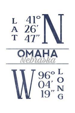 Omaha, Nebraska - Latitude and Longitude (Blue) by Lantern Press