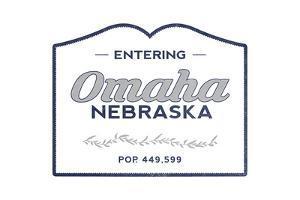 Omaha, Nebraska - Now Entering (Blue) by Lantern Press