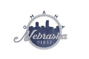 Omaha, Nebraska - Skyline Seal (Blue) by Lantern Press