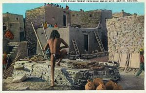 Oraibi, Arizona - Hopi Snake Priest Enters Snake Kiva by Lantern Press