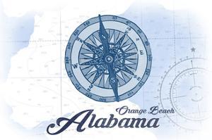 Orange Beach, Alabama - Compass - Blue - Coastal Icon by Lantern Press