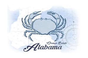 Orange Beach, Alabama - Crab - Blue - Coastal Icon by Lantern Press