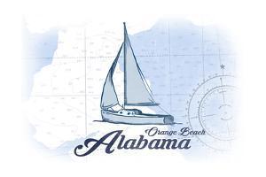Orange Beach, Alabama - Sailboat - Blue - Coastal Icon by Lantern Press
