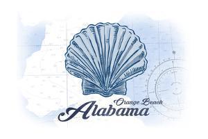 Orange Beach, Alabama - Scallop Shell - Blue - Coastal Icon by Lantern Press