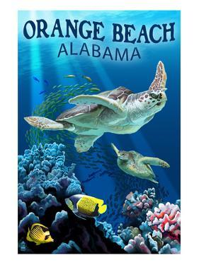 Orange Beach, Alabama - Sea Turtles Swimming by Lantern Press