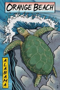 Orange Beach, Alabama - Sea Turtles Woodblock Print by Lantern Press