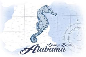 Orange Beach, Alabama - Seahorse - Blue - Coastal Icon by Lantern Press