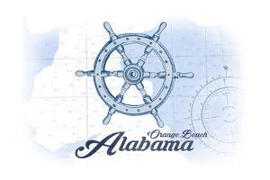 Orange Beach, Alabama - Ship Wheel - Blue - Coastal Icon by Lantern Press